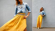 @Haeli Denton Do this with your denim shirt...Yellow maxi skirt (by Galant-Girl Ellena) http://lookbook.nu/look/4056210-Yellow-maxi-skirt