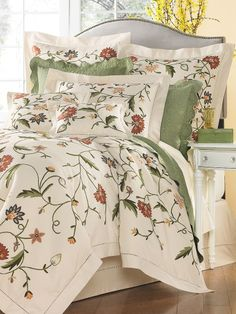 Surrey Garden Duvet Cover - This flower-and-vine pattern is rendered in the English tradition of crewel embroidery, in colors culled from a spring garden. Comforter made of Canterbury, Comforter Cover, Comforter Sets, Master Bedroom, Bedroom Decor, Bedroom Ideas, Cosy Bed, Above Bed, Floral Bedding