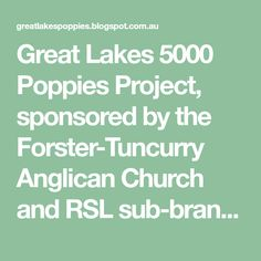 Great Lakes 5000 Poppies Project, sponsored by the Forster-Tuncurry Anglican Church and RSL sub-branch. Crochet Poppy Pattern, Knitted Poppies, Anglican Church, Great Lakes, Patterns, Blog, Craft, Block Prints, Creative Crafts