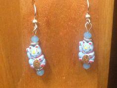 Fourth of July - Handmade Beaded Earrings - The Waving Cat by TheWarriorsJewelry on Etsy