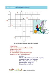 coloriage  Jeu de mots croises: pays de l'UE n°4 Pays Europe, Union Européenne, Learning Games For Kids, Teaching French, Crossword, Happy, Geography, French Tips, Plural Of Nouns
