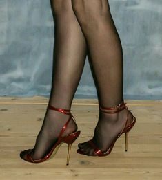 Sheer black nylons in sexy strappy sandals. #blackhighheelssandals