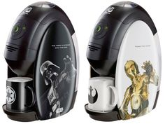 The Nestle Star Wars Coffee Machines come in Darth Vader with the 'Dark Set' and 'Light Set' which features C3PO. They are available in very limited editions of just 5000 each for $120 a piece.