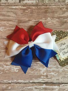 Arco del pelo blanco y azul rojo 4 de arco del pelo de julio