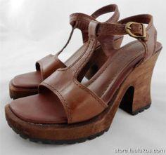 Womens shoe TWO LIPS Wood Clogs High Heel Sandal Platform Pump Brown LEATHER 8 M #TwoLips #PlatformsWedges