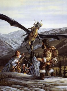 Party of 4 vs Wizard Cloak Dragon Mount flying Conifer Forest hills farmland mountains Larry Elmore - Dragon 35 High Fantasy, Fantasy Rpg, Medieval Fantasy, Fantasy World, Fantasy Dragon, Dragon Art, Fantasy Paintings, Fantasy Artwork, Science Fiction