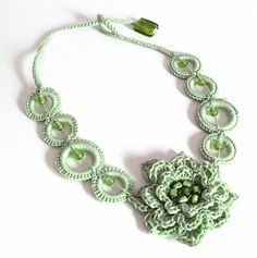 Crochet Flower Necklace | GREEN FLOWER Handknit Crochet Necklace by Silvia66 on Etsy