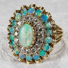 Natural Opal Diamond Ring 4.5ctw 14k Gold Opal Diamond Halo Cluster Ring Opal Ring