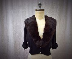 Vintage 1950s Black Sweater Cardigan with Dark Chocolate Fur Soft Cozy by HexHeartHollow, $100.00