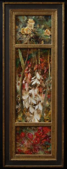 Cactus Triptych by Laura Robb Oil ~ 36 x 10