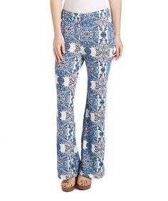 This Blue Geometric Palazzo Pant is perfect! #zulilyfinds