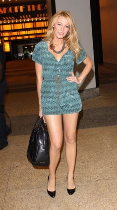 Blake Lively wearing a romper and Black patent heels. Beauty on High Heels #Fashion