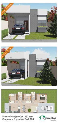 Essa planta de casa possui três quartos (sendo um deles suíte), uma cozinha relativamente espaçosa para plantas com essa metragem quadrada, dois banheiros (sendo um deles o da suíte), uma sala de estar e jantar integradas para o melhor aproveitamento do espaço e uma garagem.