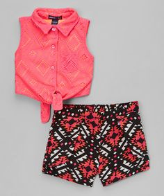 Neon Hot Pink Top & Geometric Shorts - Infant, Toddler & Girls #zulily #zulilyfinds
