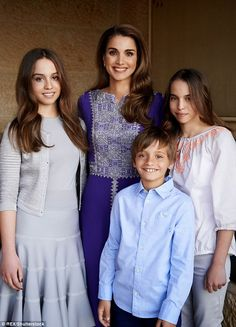 Queen Rania with three of her children (left to right) Princess Iman, Prince Hashem and Pincess Salma