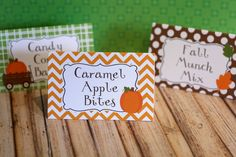 Little Pumpkin Food Tents, Party Food Labels by thelovelyapple on Etsy https://www.etsy.com/listing/156155718/little-pumpkin-food-tents-party-food