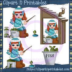 Ice Fishing Girls Red 4