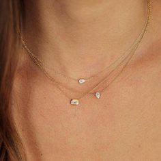 Bezel Setting Diamond Solitaire Necklace in White Gold / Dangling Diamond Necklace / Dainty Diamond Necklace / Birthday Gift - Fine Jewelry Ideas Dainty Jewelry, Luxury Jewelry, Body Jewelry, Jewelry Accessories, Fine Jewelry, Women Jewelry, Jewelry Design, Gold Jewellery, Silver Jewelry