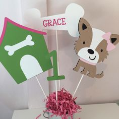 Items similar to Puppy Centerpiece/ Puppy Cake Topper/Doghouse/Bone/ Age/ Personalized Puppy Bone/ Puppy Table Decor/Terrier Centerpiece/ Dog Cake Topper on Etsy Dog Themed Parties, Puppy Birthday Parties, Puppy Party, Farm Birthday, 10th Birthday, Birthday Party Themes, Birthday Invitations, Dog Cake Topper, Puppy Cake