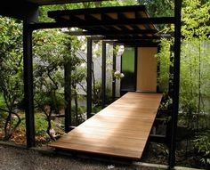 Modern Wooden Patio Garden Bridge Exterior Design