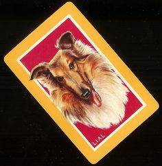 Set 4 Vintage Lassie-Collie Dog Playing Cards for Swap-Scrapbooks on Etsy, $2.22 AUD