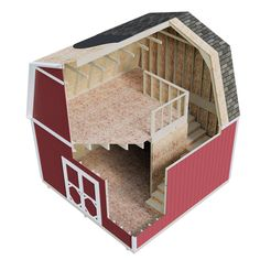 Two Story Shed with Barn Style Roof & Stairs Backyard Storage Sheds, Backyard Sheds, Shed Storage, Outdoor Storage, Backyard Bar, Diy Storage, Shed Sizes, Bar Shed, Tiny Houses