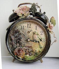 Altered Art Vintage Alarm Clock ,