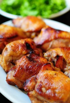 Honey and Soy Baked Chicken Thighs -- perfect for a weeknight meal and so easy!