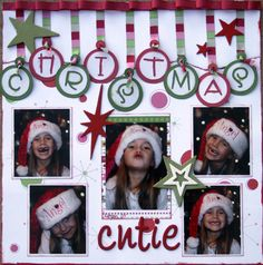 "I like the way the word ""Christmas"" looks like ornaments. You can just use plain color paper to decorate this. #scrapbookideas"