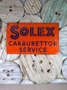 Large Solex Enamel Advertising Sign - Stock - Woody's Antiques, Decorative Furniture and Objects