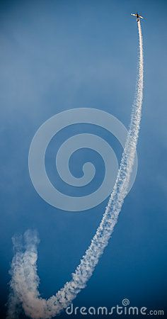 Photo about Airplanes on air show with smoke trails. Airplane performing difficult maneuver in the sky. Image of dark, altitude, cloudy - 58793722 Airplane Outline, Clear Sky, Air Show, Blue Backgrounds, Airplanes, Trail, Clouds, Smoke, Stock Photos