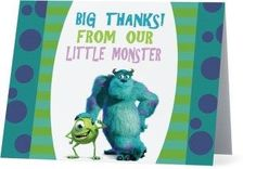 Thank You Card, Monsters Inc Theme Monsters Inc, Little Monsters, Birthday Thank You Cards, Printable Thank You Cards, Themes Free, Customer Service, Digital, Prints, Printed
