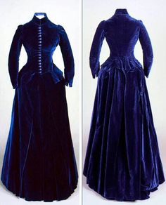 Two-piece day dress, ca. Dark blue silk velvet, silk satin, and cotton… 1880s Fashion, Edwardian Fashion, Vintage Fashion, Victorian Gown, Victorian Costume, Antique Clothing, Historical Clothing, Historical Society, Vintage Outfits