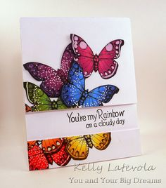 You and Your Big Dreams: Crafting With Friends: Case This Sketch—uses Hero Arts Flutterbies printable colored w/ Distress Inks. Cool Cards, Diy Cards, Rainbow Card, Rainbow Butterfly, Hero Arts Cards, Friend Crafts, Scrapbook Cards, Scrapbooking, Butterfly Cards