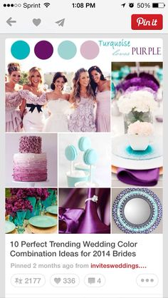 More shades of purple and aqua or teal idea's for your wedding ☆★☆★