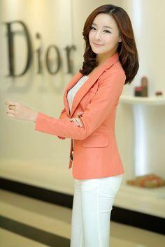 2015 spring new Women Korean Slim lapel collar double pocket leisure suit define aesthetically pleasing face   Japanese street fashion japanese fashion magazine japan store korean style chinese fashion trendy
