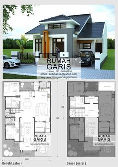 desain model denah dan tampak rumah minimalis 2 lantai di Takalar