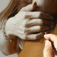 Work in progress (under painting) 褐色の中間色を基準に明部にはしっかり絵具をのせ暗部は下層の色を透かすように絵具の透明感を生かすというのが基本的な考え方です #progress #art #realism #osamuobi #oilpainting #painting by osamu_obi