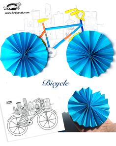 folded paper bicycle crafts « Preschool and Homeschool Bicycle Crafts, Kids Bicycle, Bicycle Art, Paper Crafts For Kids, Crafts To Make, Craft Kids, France Craft, Transportation Crafts, Material Didático