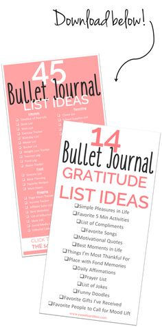 Download free list of 45 bullet journal list ideas and 14 ideas for bullet journal gratitude list ideas! So cute and useful for staying positive and happy!! xo