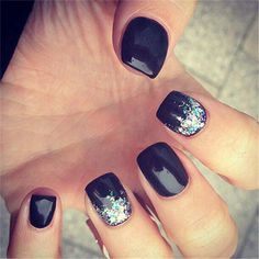 Winter Black Nail Art Desgins 12
