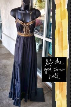 Suzy Shier beaded black maxi, size M! - Add some glam to your maxi! This maxi is just #adroable #shopposh #suzyshier #consignment #boutique