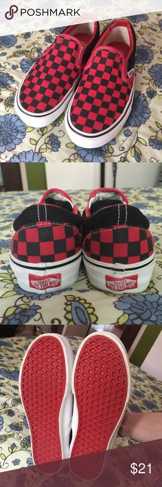 Vans Slip-on Shoes Like new! Black and red checkered Vans. Worn only d46ec73dd3d94