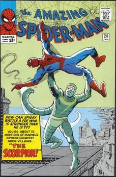 Cover art by Steve Ditko. First appearance of the Scorpion in The Coming of the Scorpion! Reprinted in Marvel Tales # 15 and Grade: CGC Qualified. Published 1965 by Marvel. Marvel Dc Comics, Marvel Comic Books, Comic Books Art, Book Art, Amazing Spiderman, Amazing Spider Man Comic, Comic Book Villains, Marvel Villains, Marvel Characters
