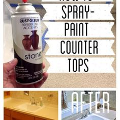 Wonder if it would be considered sacriligeous to paint the avocado green countertops? How to Spray Paint Countertops Spray Paint Countertops, Painting Countertops, Countertop Redo, Diy Countertops, Spray Paint Cabinets, Rustoleum Countertop, Spray Paint Furniture, Painting Laminate, Backsplash