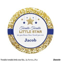 Twinkle twinkle little star blue baby shower plate