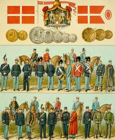 1900 Antique lithographic Map, Flags, Coins and Army Uniforms of DENMARK around 1900