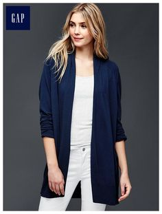 Open front seamed sweater