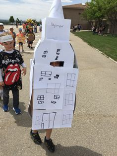 The word is SKYSCRAPER! I love cardboard creations, and this is a winner Vocabulary Parade costume!