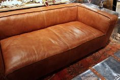 "90"" Sofa Vintage Brown Soft Italian Glove Leather Double Reverse Stitch 